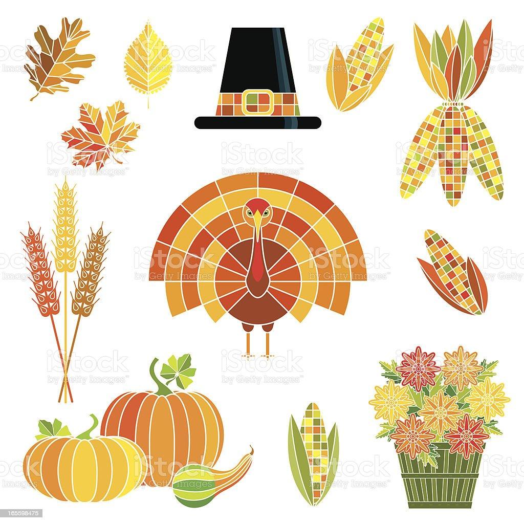 Thanksgiving Harvest Set royalty-free stock vector art