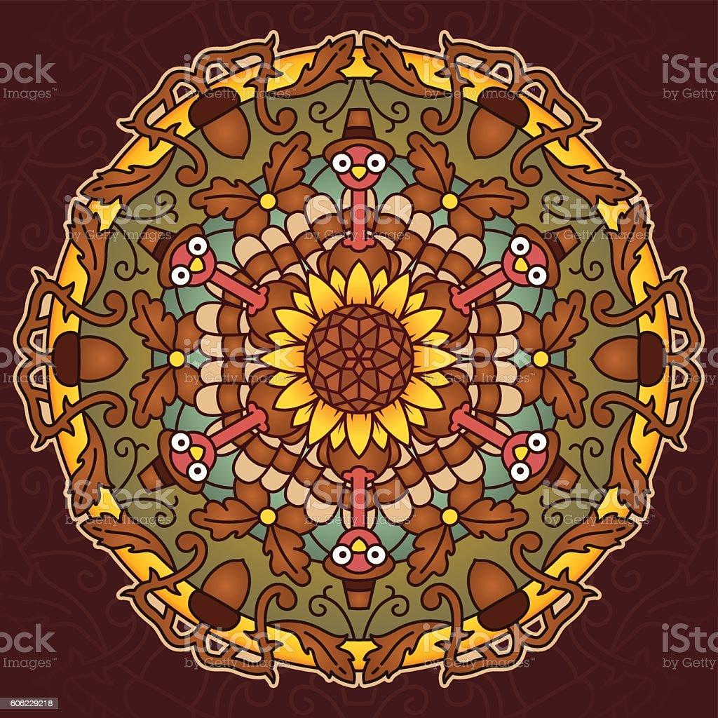 Thanksgiving Holiday Mandala vector art illustration