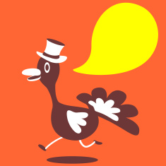 Thanksgiving Holiday smiling running Turkey with Top Hat vector art illustration
