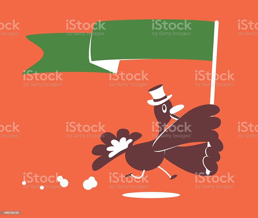 Thanksgiving Holiday Smiling Turkey with Top Hat and Blank Flag vector art illustration