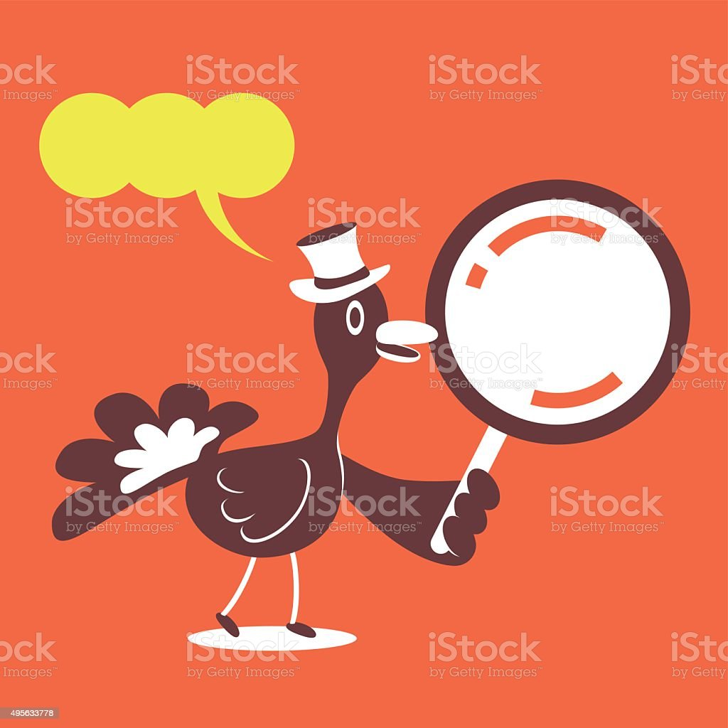Thanksgiving Holiday Smiling Turkey with Top Hat and Magnifying Glass vector art illustration