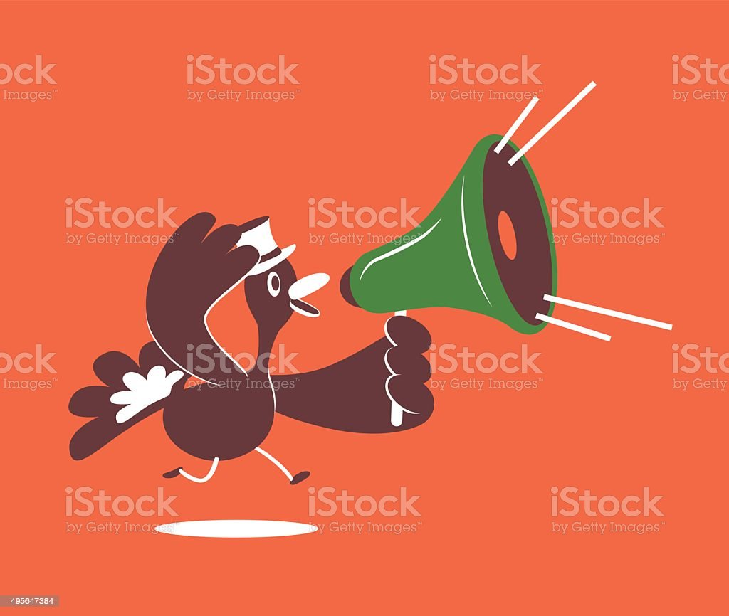 Thanksgiving Holiday Smiling Turkey with Top Hat and Megaphone Running vector art illustration