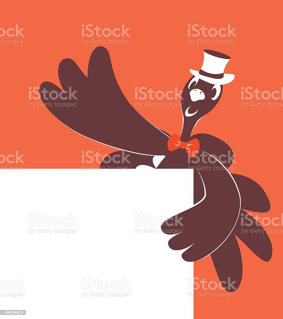 Thanksgiving Holiday Turkey with Top Hat, behind white blank sign vector art illustration