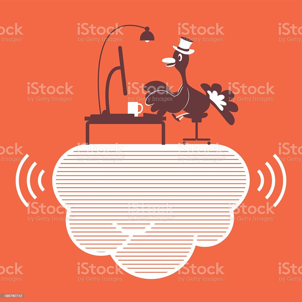 Thanksgiving Holiday Turkey with Top Hat, using computer on cloud vector art illustration