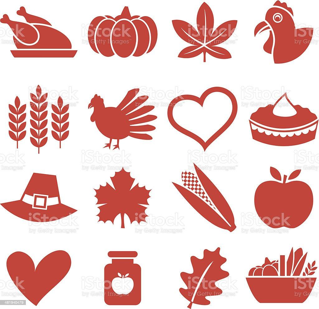 Thanksgiving - Icons Set royalty-free stock vector art