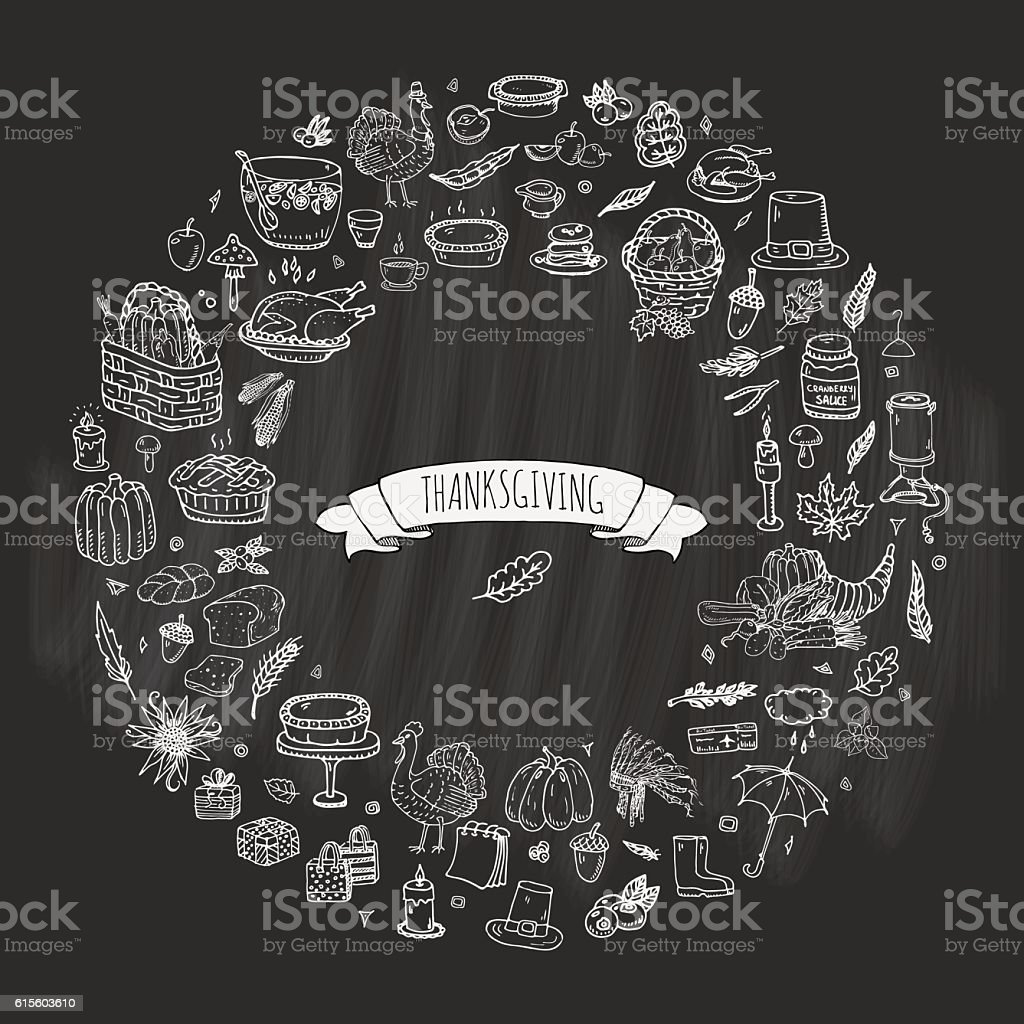 Thanksgiving icons set vector art illustration