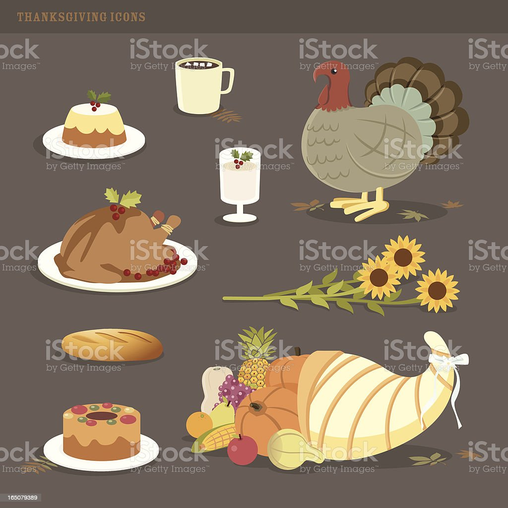 thanksgiving icons vector art illustration