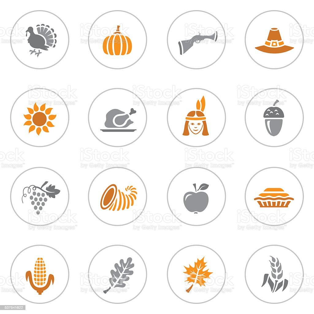 Thanksgiving Icons vector art illustration