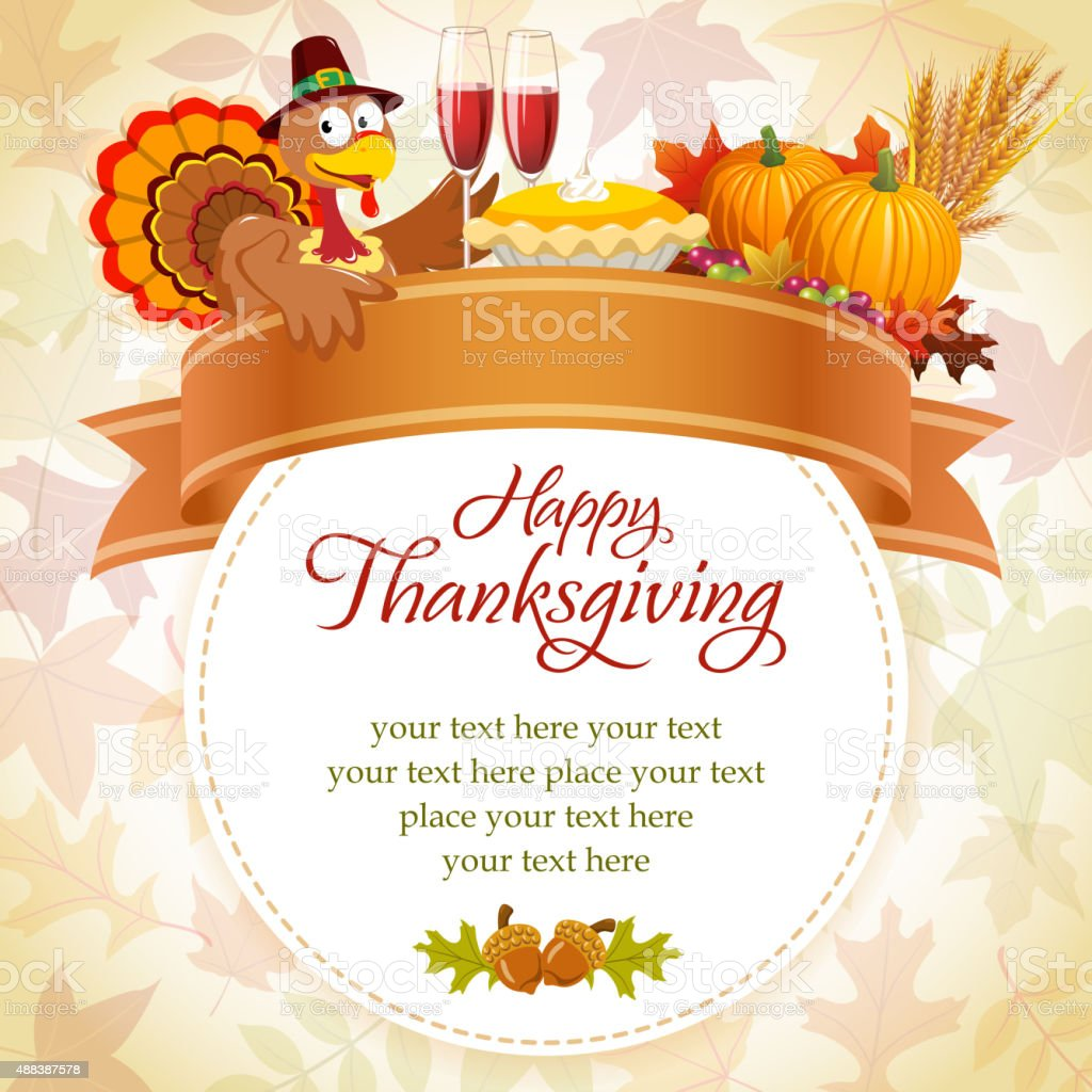 Thanksgiving invitation vector art illustration