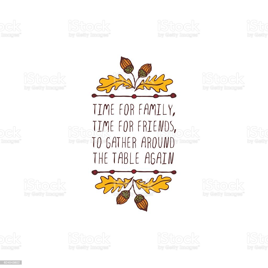 Thanksgiving label with text on white background vector art illustration