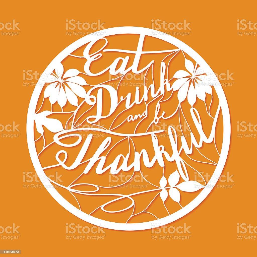 Thanksgiving laser cutting template vector art illustration