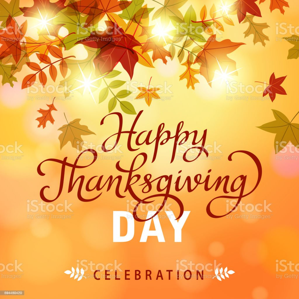 Thanksgiving Leaves Background vector art illustration