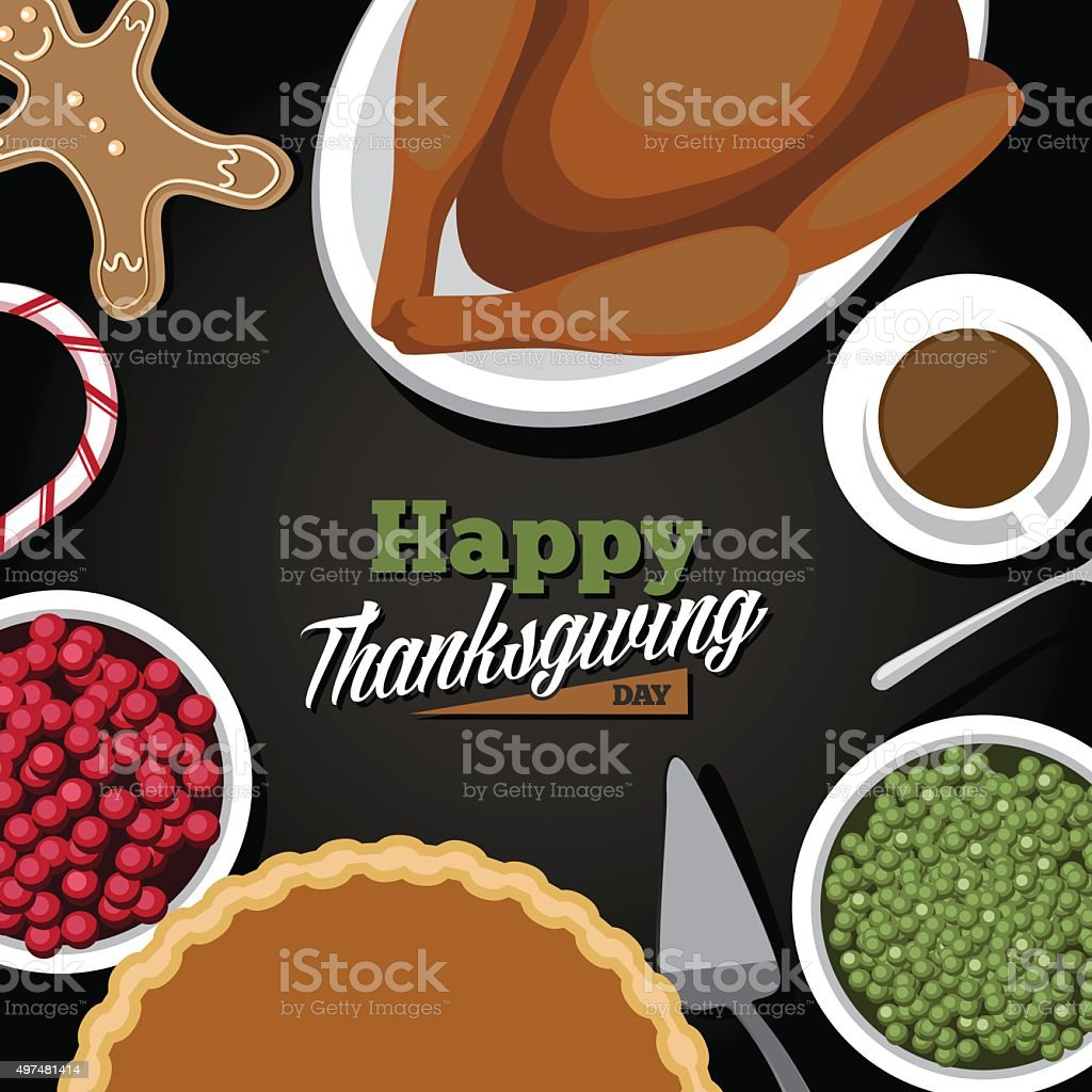 Thanksgiving meal greeting card design vector art illustration