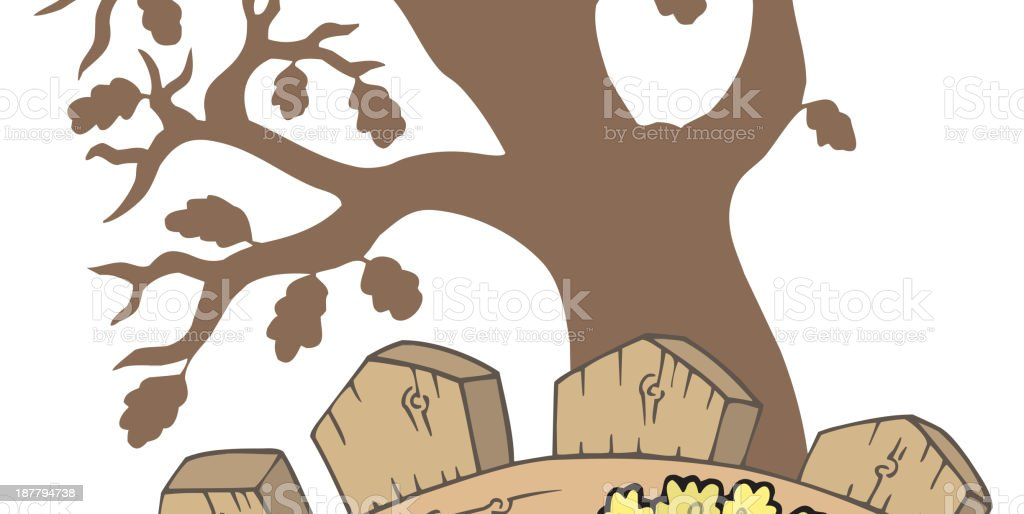 Thanksgiving motive with tree royalty-free stock vector art