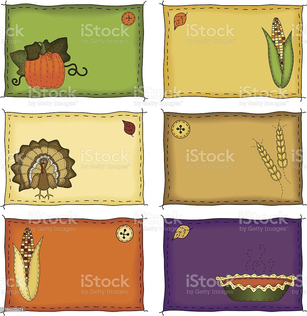 Thanksgiving Name Tags royalty-free stock vector art