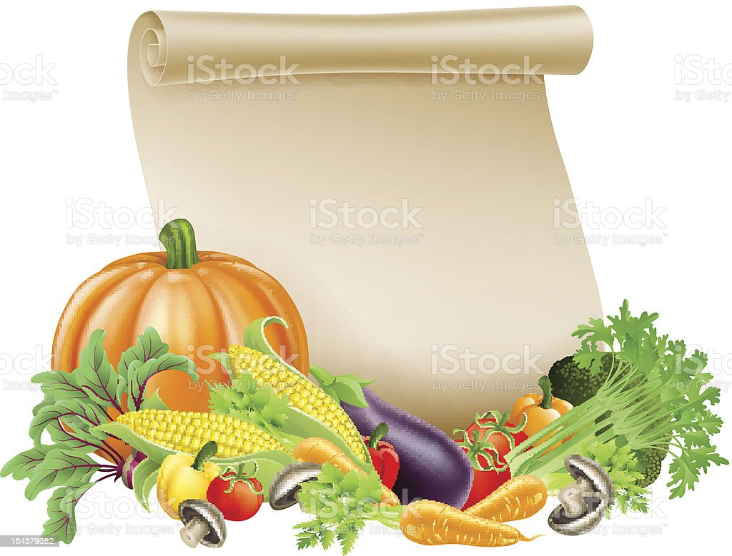 Thanksgiving or fresh produce scroll royalty-free stock vector art