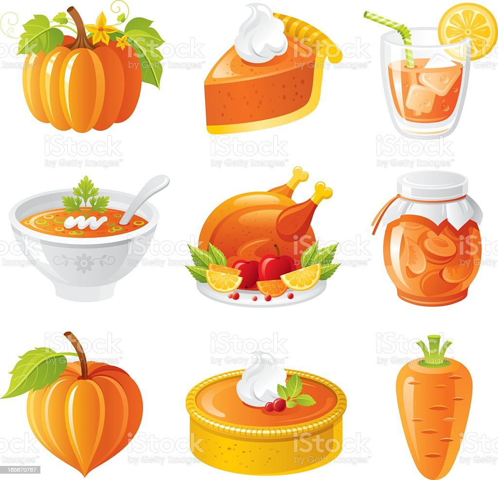 Thanksgiving orange holiday food icon set royalty-free stock vector art
