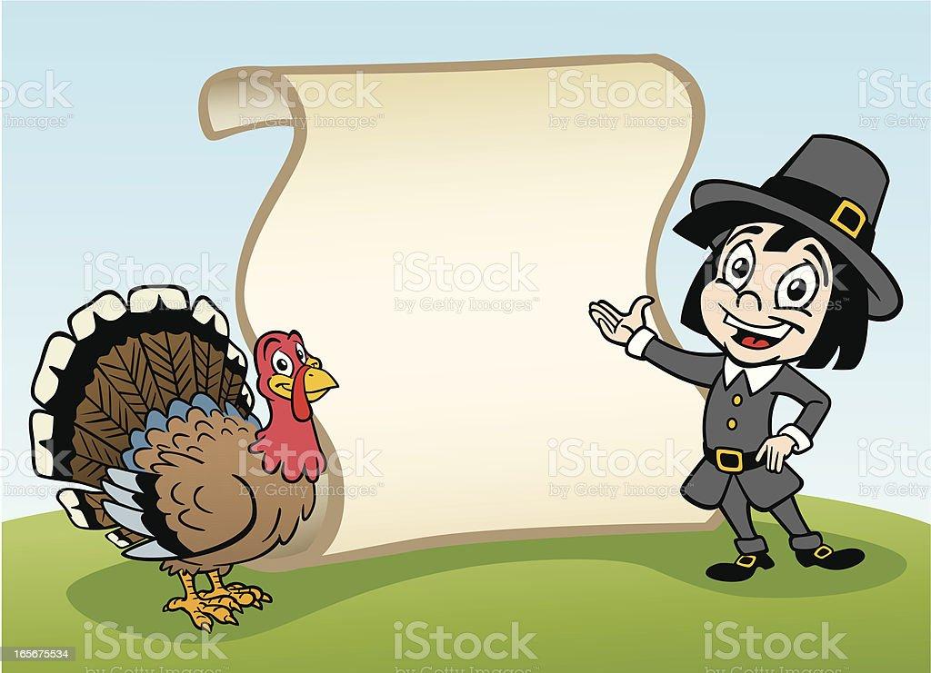 Thanksgiving Pilgrim and Turkey With Scroll vector art illustration