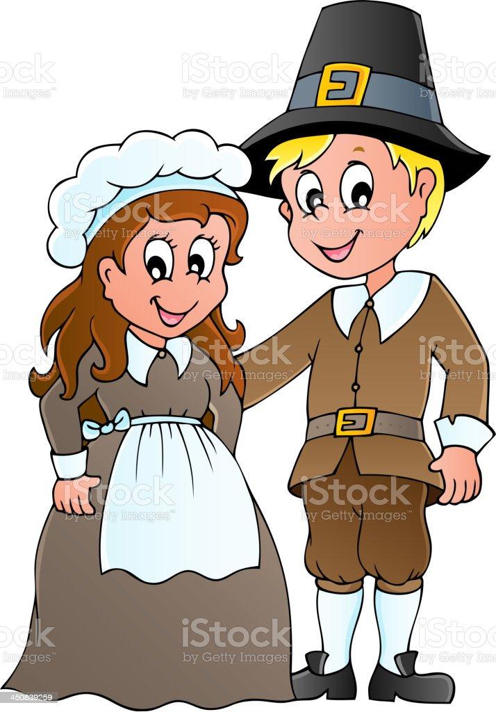 Thanksgiving pilgrim theme 1 royalty-free stock vector art