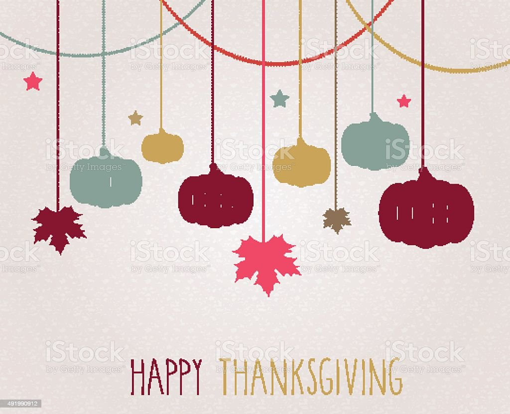 Thanksgiving poster. Hanging colorful pumpkins and maple leaves vector art illustration