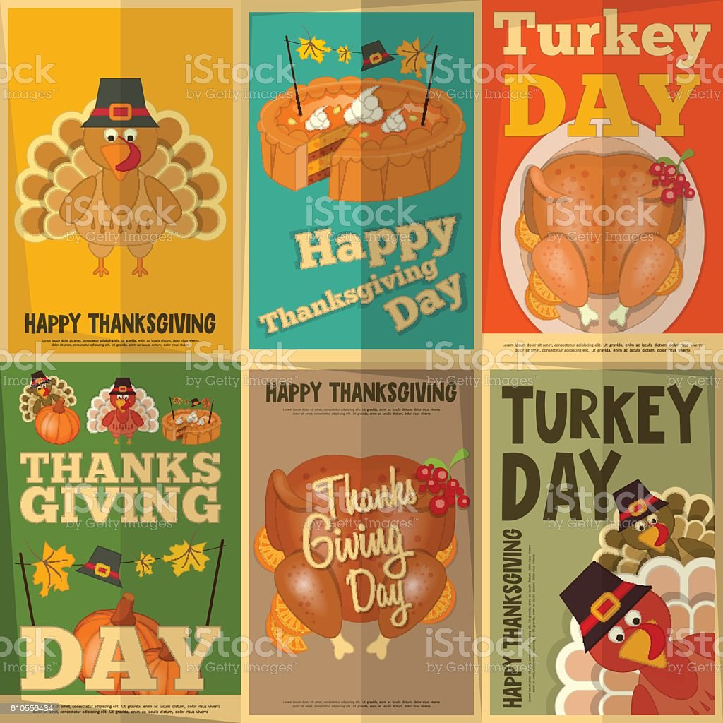 Thanksgiving Posters Set vector art illustration