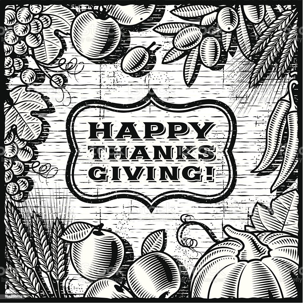 Thanksgiving Retro Card black and white royalty-free stock vector art