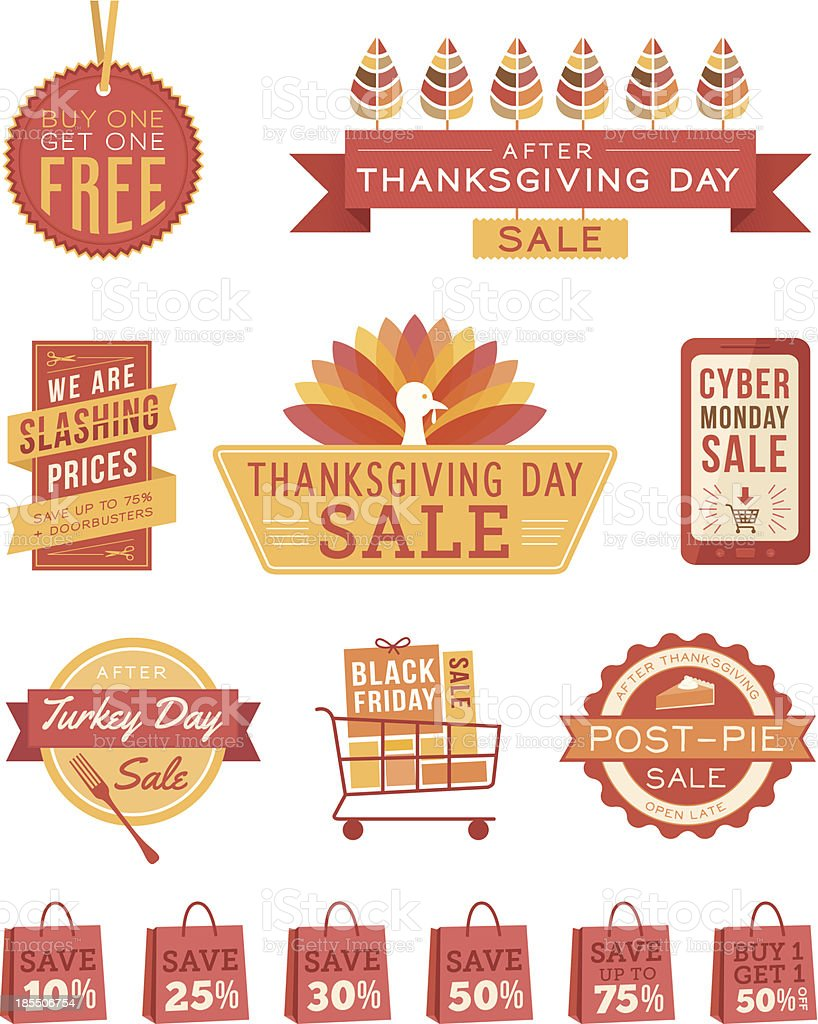 Thanksgiving Sale Banners royalty-free stock vector art