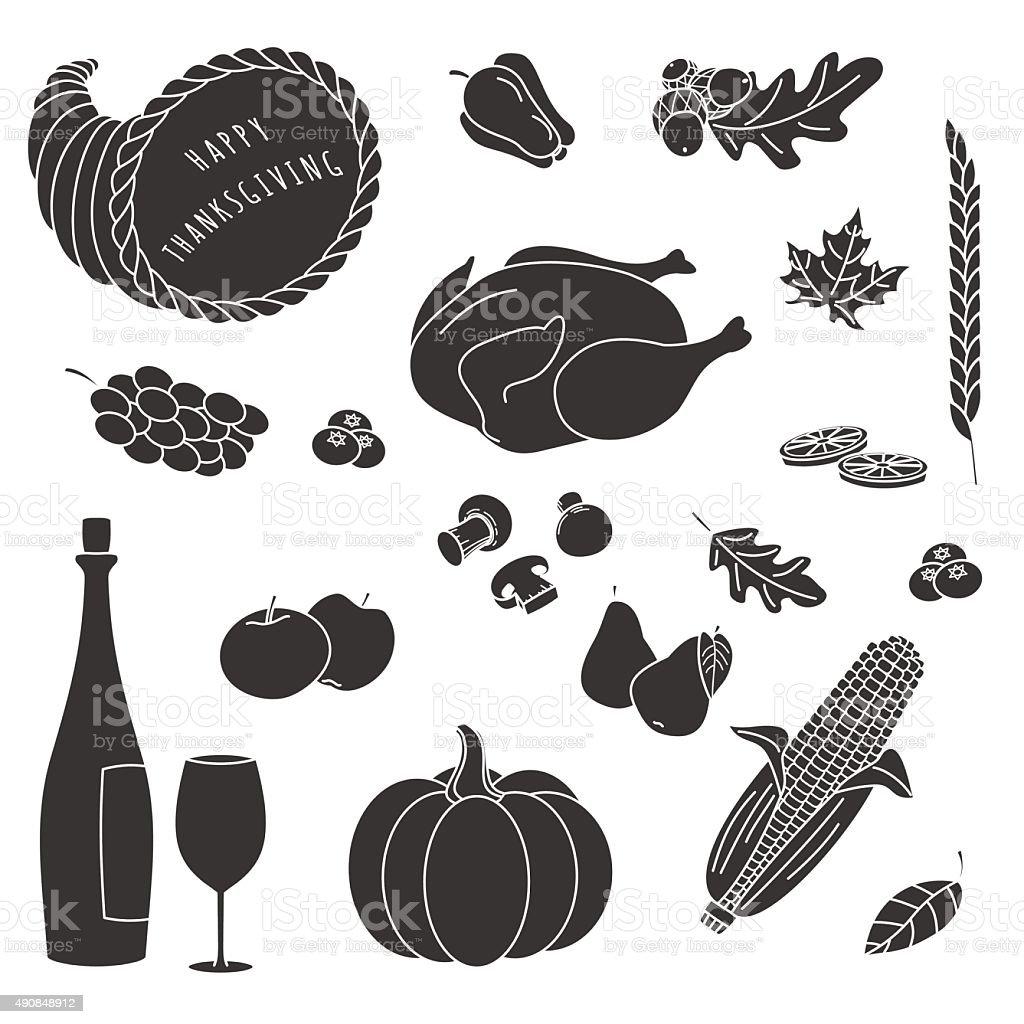 Thanksgiving silhouette elements. vector art illustration