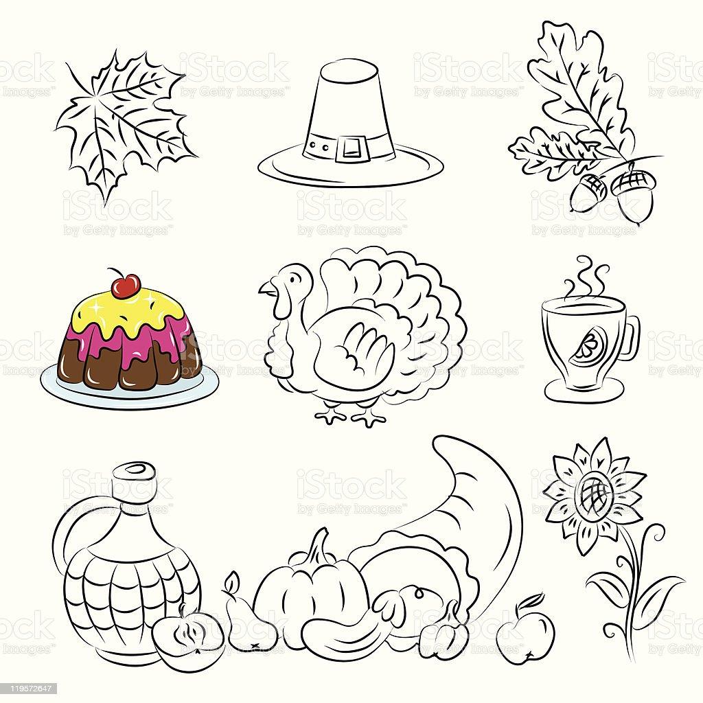 Thanksgiving Sketch Set royalty-free stock vector art