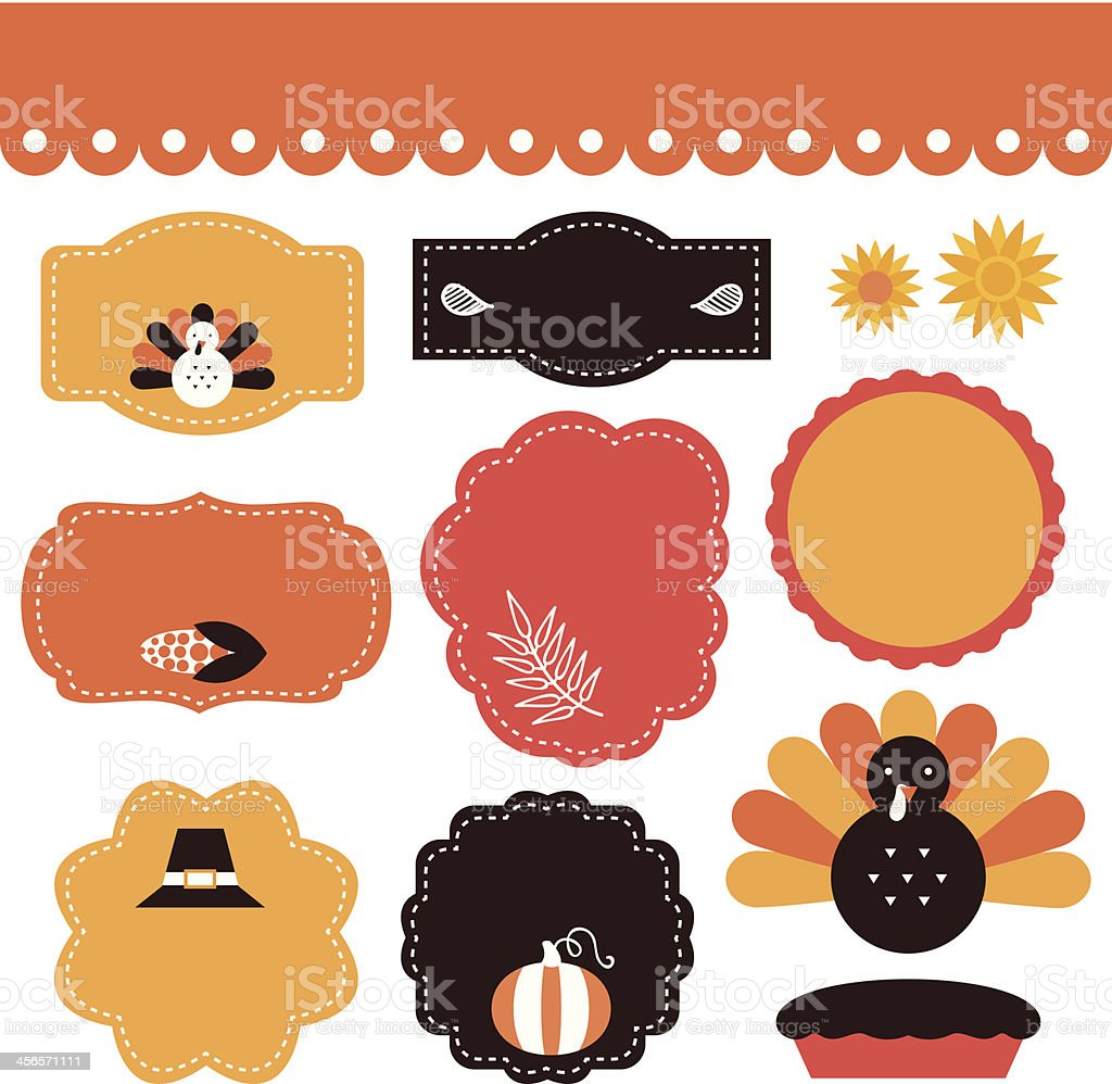 Thanksgiving tags and elements set isolated on white royalty-free stock vector art