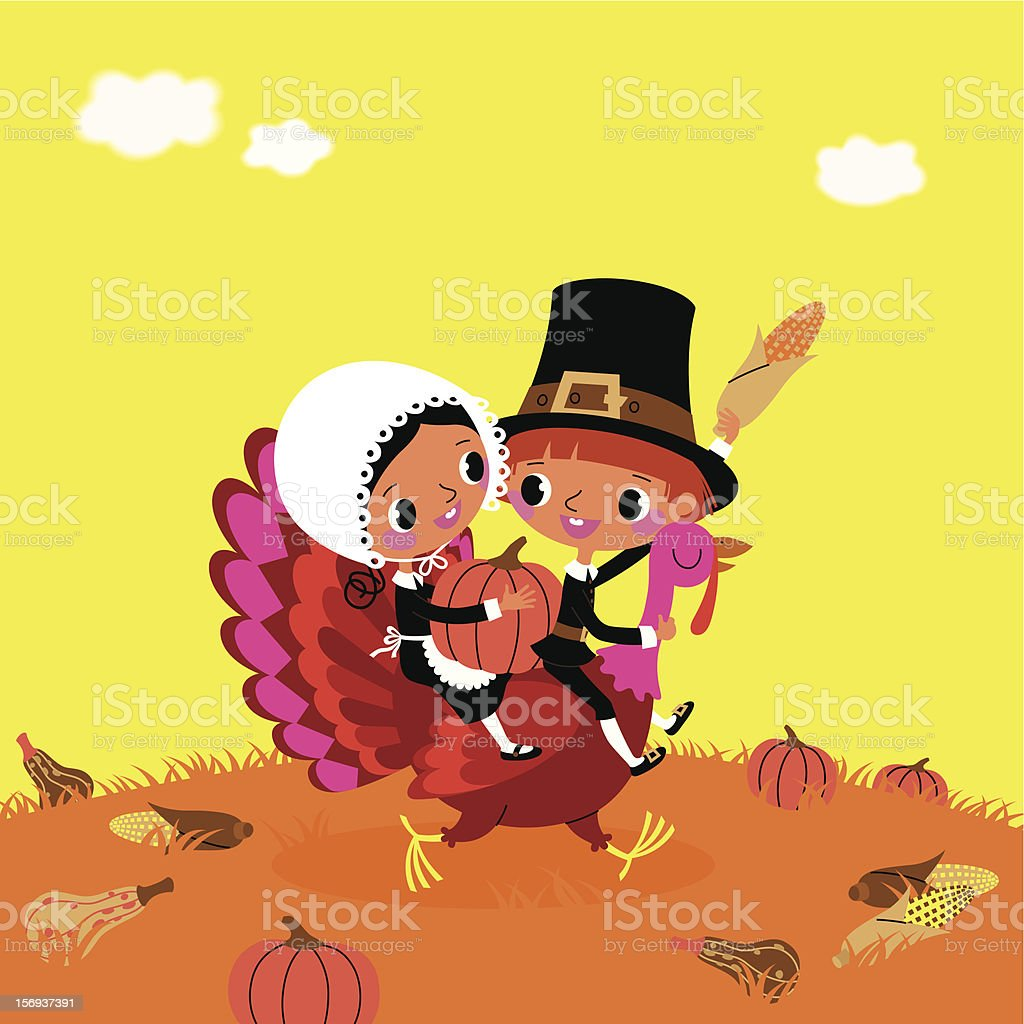 Thanksgiving. The Piligrims and Turkey. vector art illustration
