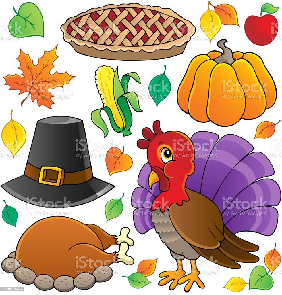 Thanksgiving theme collection 1 royalty-free stock vector art