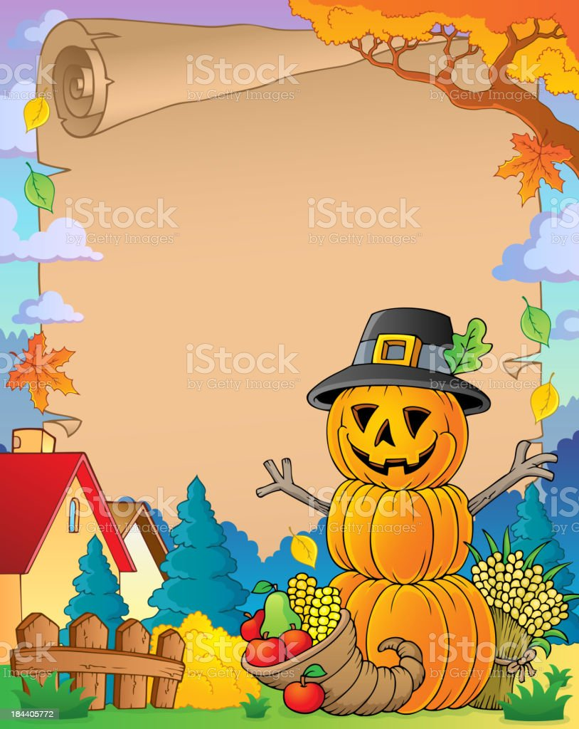 Thanksgiving theme parchment 6 royalty-free stock vector art