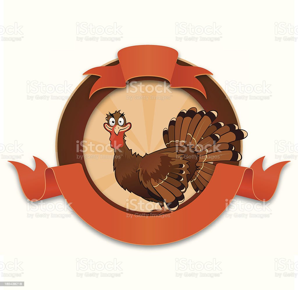 Thanksgiving turkey cartoon character royalty-free stock vector art