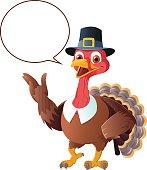 Thanksgiving - Turkey Cartoon With Speech Balloon