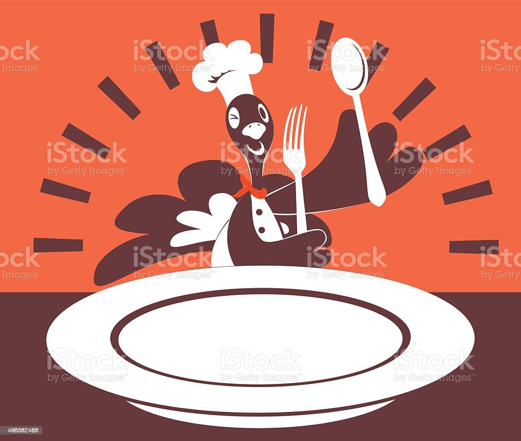 Thanksgiving Turkey Chef with Chef's Hat, Fork, Spoon, Blank Plate vector art illustration