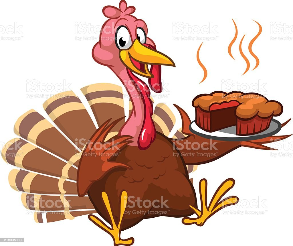 Thanksgiving turkey chief cook serving pumpkin pie. Vector cartoon vector art illustration