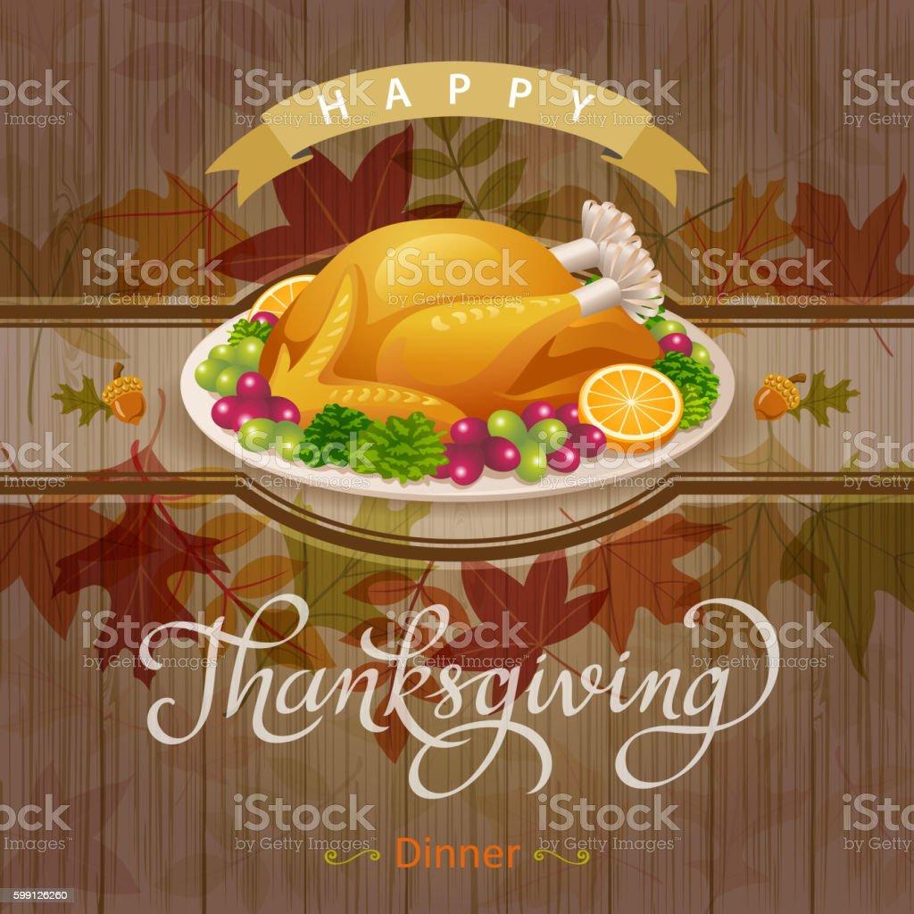 Thanksgiving turkey Dinner vector art illustration