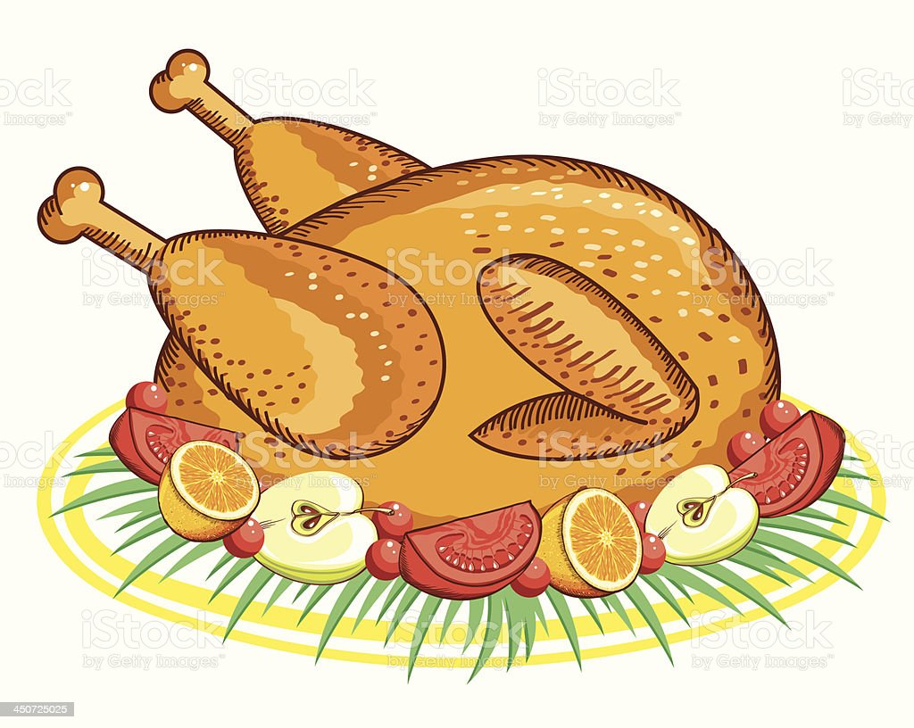 Thanksgiving Turkey .Vector food isolated on white royalty-free stock vector art