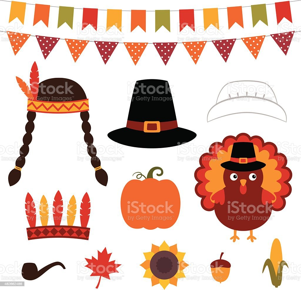 Thanksgiving vector decoration and photo booth props vector art illustration