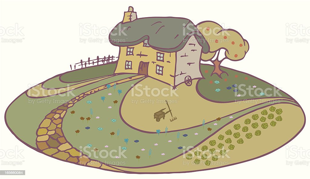 Thatched Cottage. royalty-free stock vector art
