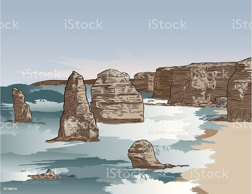 The 12 Apostles - Great Ocean Road vector art illustration