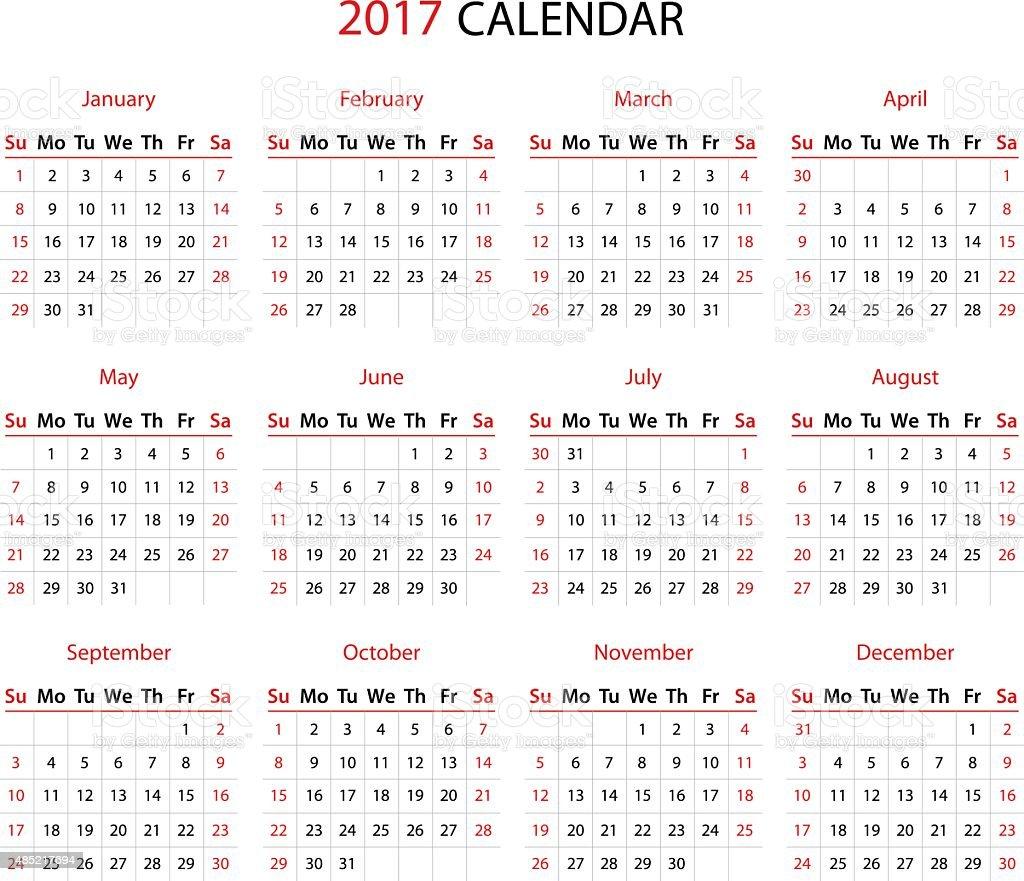 The 2017 calendar vector art illustration