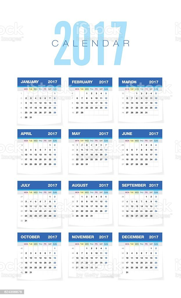The 2017 Europan Calendar vector art illustration