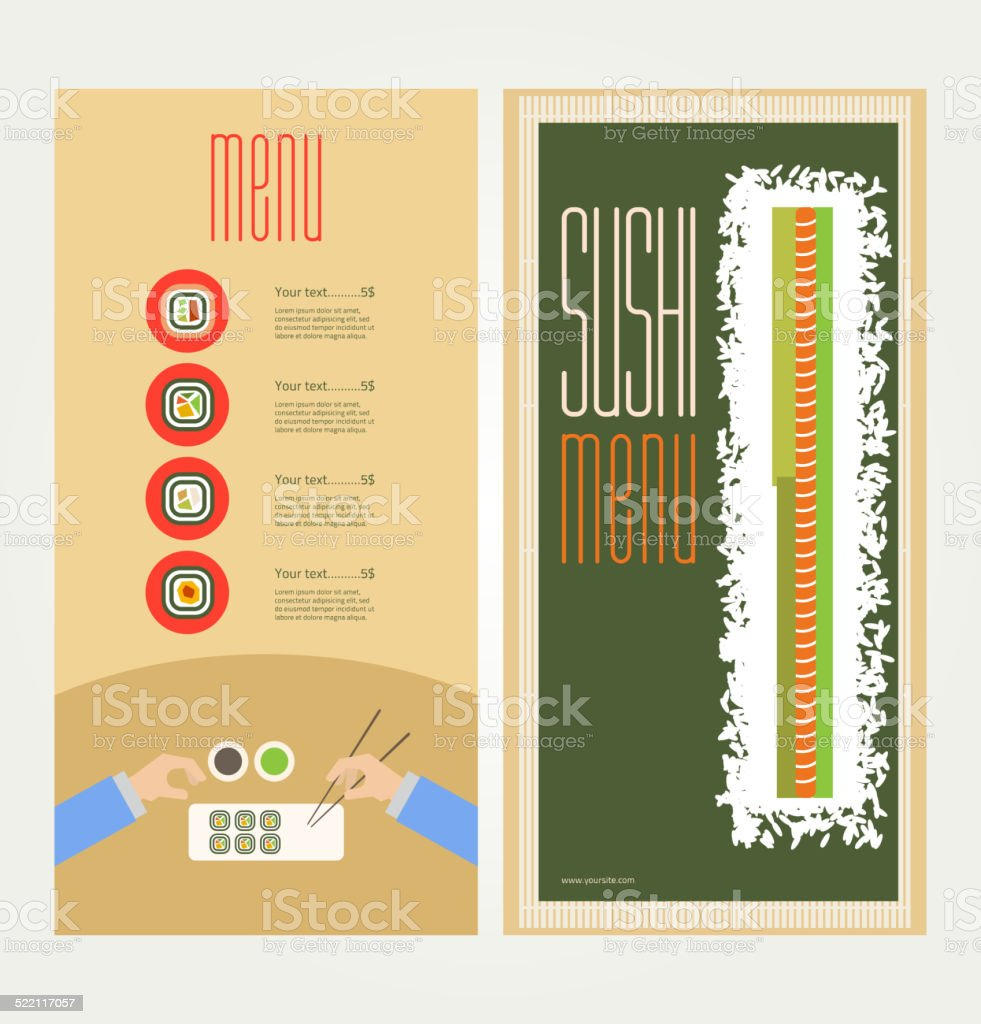 The abstract image of a menu with sushi vector art illustration