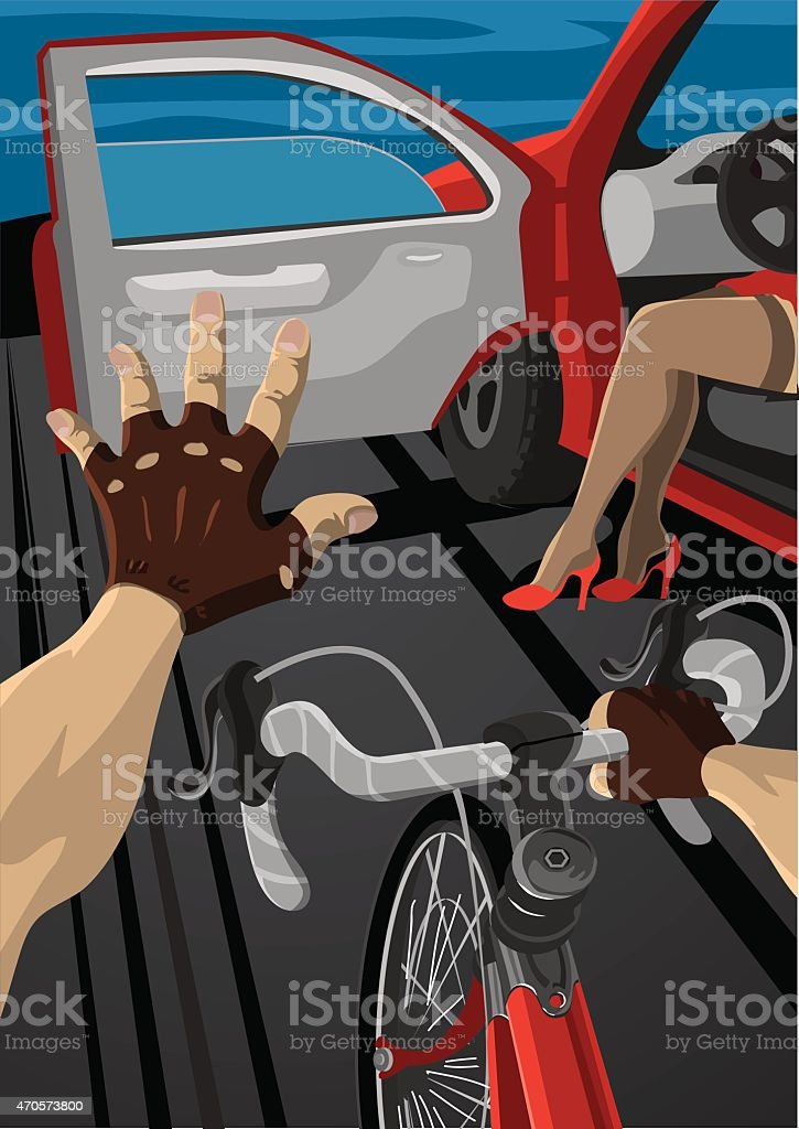 The accident on the road vector art illustration