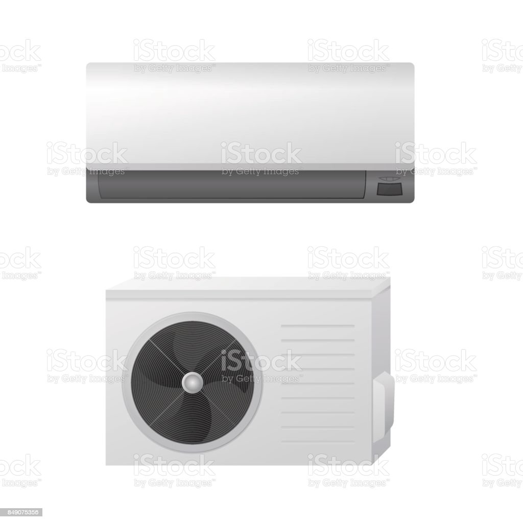 The air conditioning split system. Outdoor and indoor unit. vector art illustration
