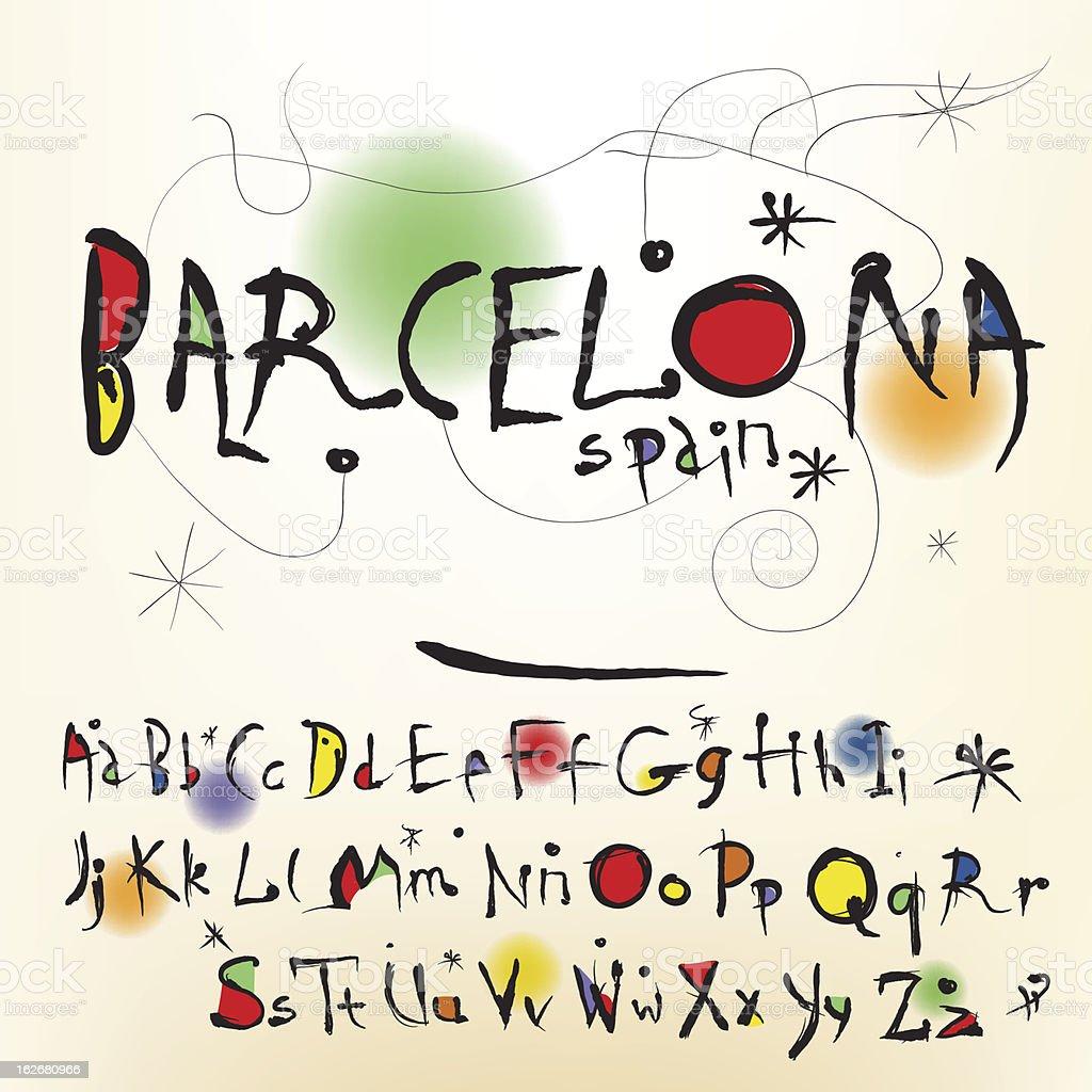 The alphabet in style Spanish artist of Joan Miro vector art illustration