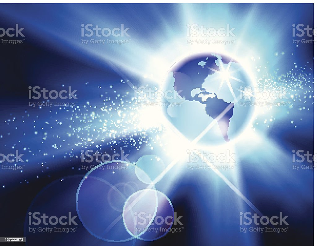 The Americas Globe Burst vector royalty-free stock photo