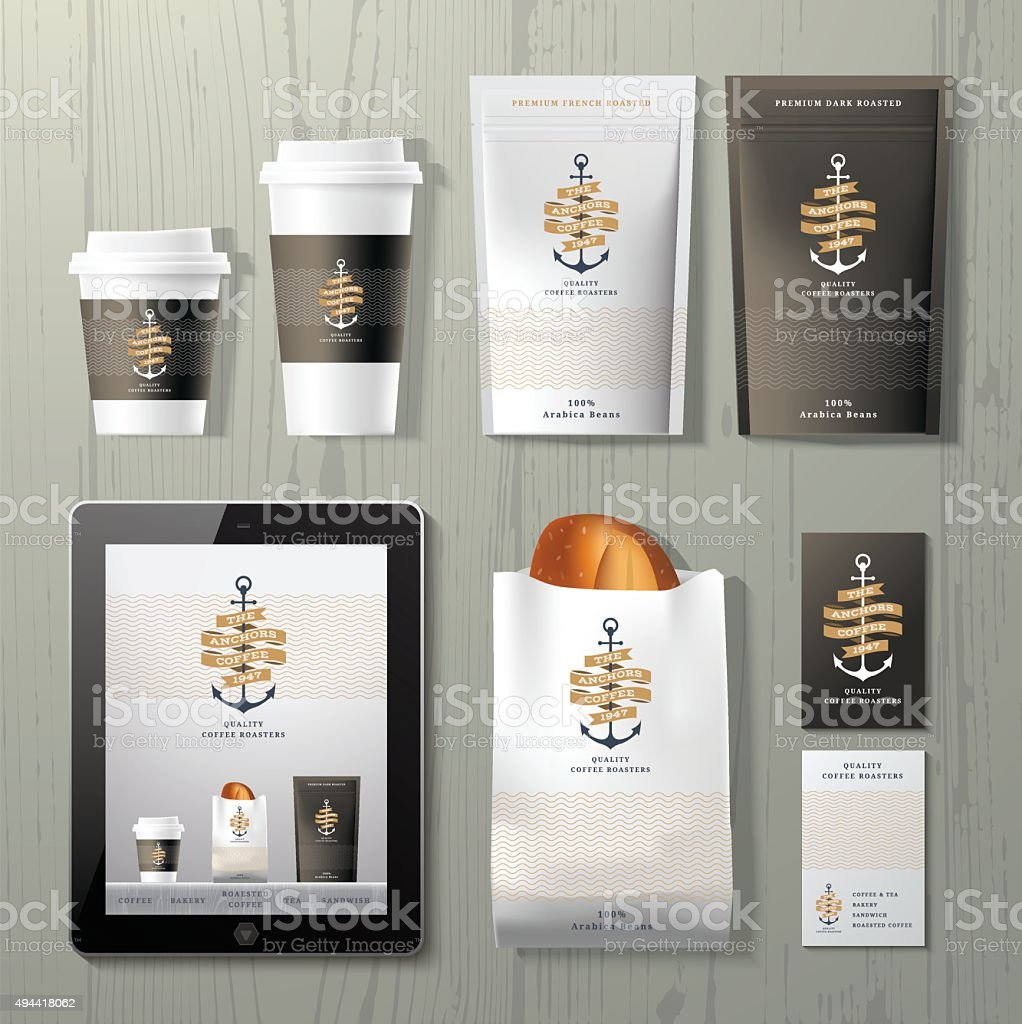 The anchors coffee shop corporate identity template design set vector art illustration